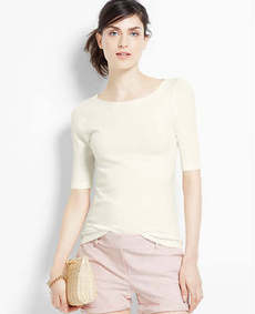 Petite Tie Back Short Sleeve Sweater