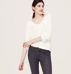 Shirred 3/4 Sleeve Peasant Tee