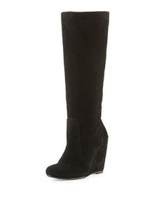 Joie Paira Suede Wedge Boot, Black