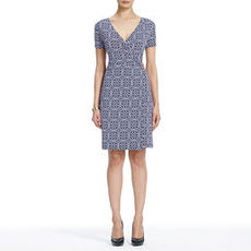Wrap Dress with Short Sleeves and Buckle