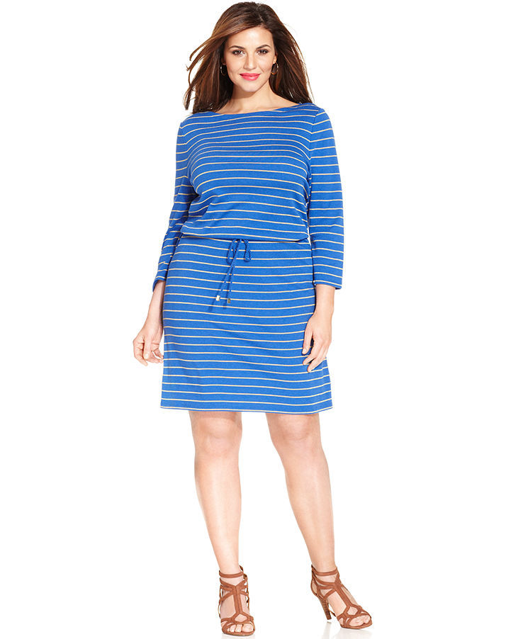 Charter Club Plus Size Three-Quarter-Sleeve Striped Dress