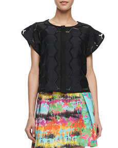 Hexagon-Cutout Short-Sleeve Top   Hexagon-Cutout Short-Sleeve Top