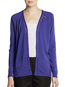 Lafayette 148 New York Hemstitched Wool Cardigan