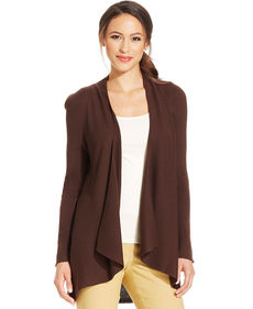 Charter Club Petite Ribbed Open-Front Cardigan