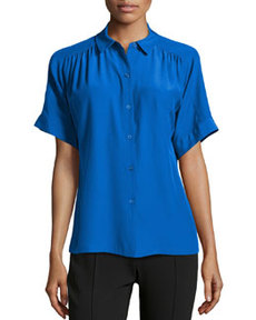 Lafayette 148 New York Pleated Short-Sleeve Silk Blouse, Azurite