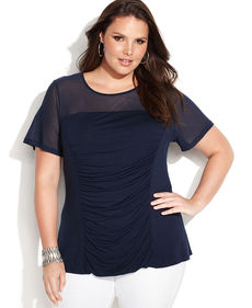 INC International Concepts Plus Size Short-Sleeve Ruched Illusion Top