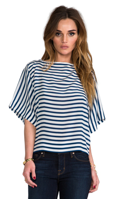 Ella Moss Cara Striped Top in Navy