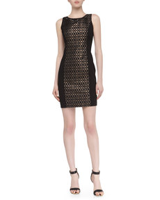 Laundry by Shelli Segal Sleeveless Metallic Jacquard Dress, Black Multi