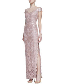Tadashi Shoji Short Sleeve Sequin & Lace Column Gown, Antique Pink