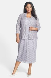 Alex Evenings Sequin Lace Tea Length Dress & Jacket (Plus Size)