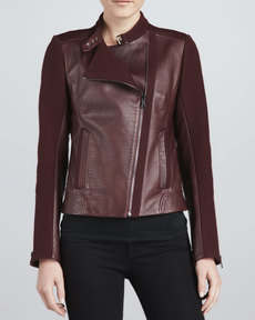 Andrew Marc Emmy Leather Mixed-Media Moto Jacket
