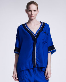 Lanvin Silk Satin Pajama Top