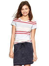 Essential multi-color stripe crew tee