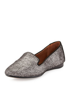 Donald J Pliner Dendasp Crackled Metallic Loafer, Pewter