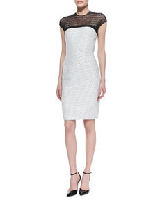 Dotted Sheath Dress with Illusion Neckline   Dotted Sheath Dress with Illusion Neckline