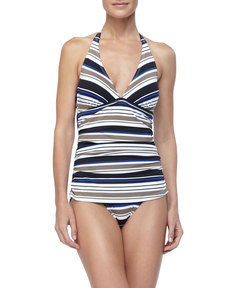 Tommy Bahama Variegated Striped Halter Top One Piece