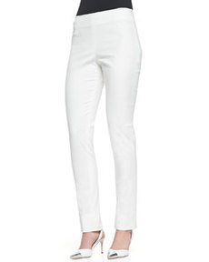 Lela Rose Catherine Slim Straight-Leg Pants, Ivory