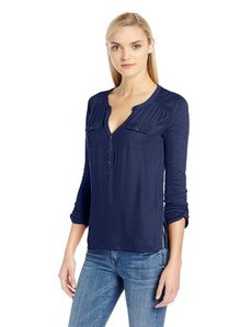 Lucky Brand Women's Pocket Woven Front Top