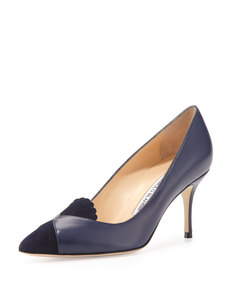 Manolo Blahnik Ponte Scalloped-Detail Loafer Pump