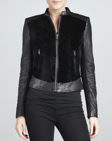 Andrew Marc Sadie Fur-Front Leather Jacket