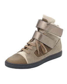 Suede High-Top Sneaker, Taupe/Gunmetal   Suede High-Top Sneaker, Taupe/Gunmetal