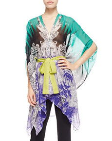 Etro Long Belted Chiffon Poncho, Green/Purple
