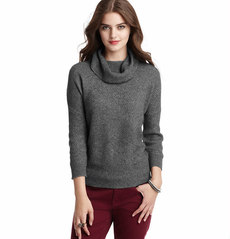 Petite 3/4 Sleeve Textured Cowl Neck Sweater