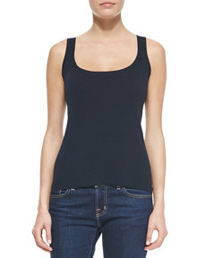 Michael Kors Fine-Gauge Cotton Tank Top, Midnight