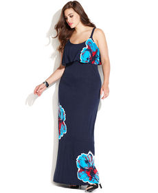 INC International Concepts Plus Size Ruffled Floral-Print Maxi Dress