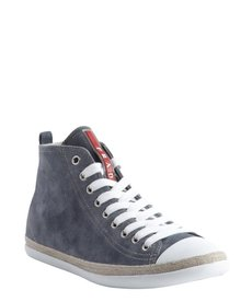 Prada prada sport blue suede capped toe lace up sneakers