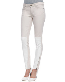 Paige Denim Cara Colorblock Ankle Zip Jeans, Serenity