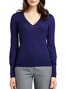 Derek Lam Texture Block Cashmere & Silk V-Neck Sweater