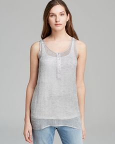 Eileen Fisher Scoop Neck Henley Racerback Tunic