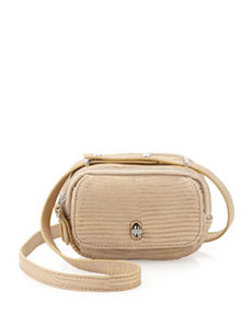 Etienne Aigner Preface Snake Embossed Distressed Leather Mini Crossbody Bag, Beige Gold