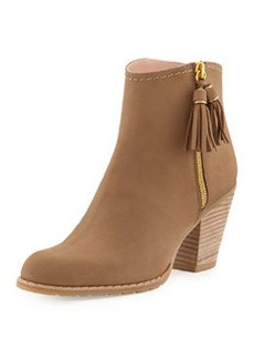 Stuart Weitzman Prancing Leather Ankle Boot, Nude