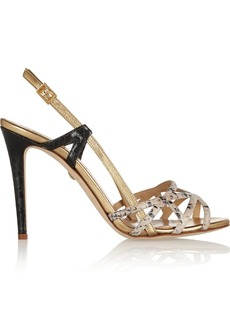 Diane von Furstenberg Upton metallic and snake-effect leather slingbacks