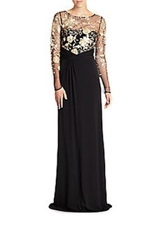David Meister Embroidered-Mesh Jersey Gown