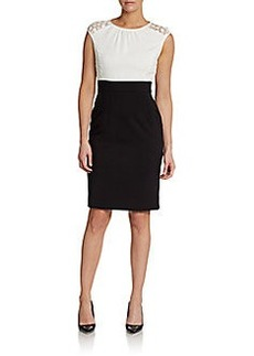 Calvin Klein Bi-Colored Crochet-Top Sheath Dress