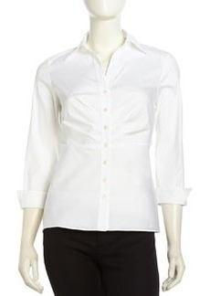 Lafayette 148 New York Ruched-Front Poplin Button-Down Blouse, White
