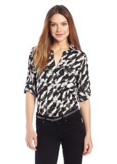Calvin Klein Women's Print Crew Roll Sleeve Shirt