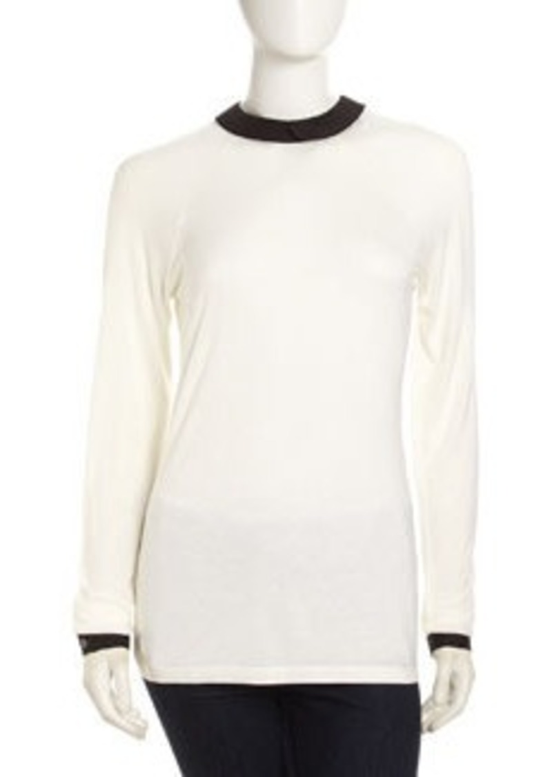 L.A.M.B. Peter Pan-Collar Tee Shirt, Ivory-Black