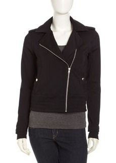 Central Park West Banded Hem Moto Jacket, Black