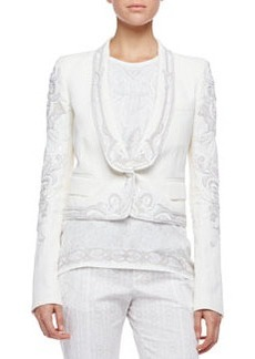 Roberto Cavalli Embroidered Blazer, Milk