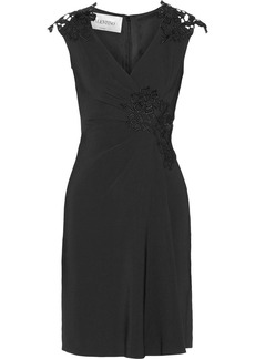 Valentino Lace-appliquéd wrap-effect crepe dress