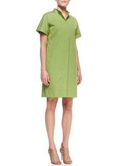 Lafayette 148 New York Phoebe Short-Sleeve Shirtdress w/Multiple Pockets