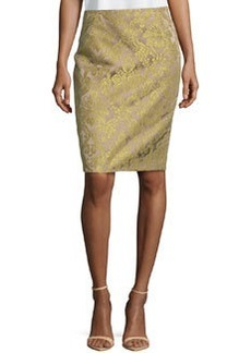 Lafayette 148 New York Two-Tone Floral-Jacquard Pencil Skirt, Sugarcane