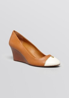 Tory Burch Cap Toe Wedge Pumps - Tiffy