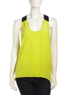 Central Park West Tricolor Silk Tank, Citron/Black