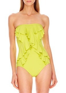 MICHAEL Michael Kors Ruffle-Front Strapless Maillot