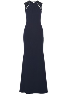 Badgley Mischka Embellished cutout crepe gown